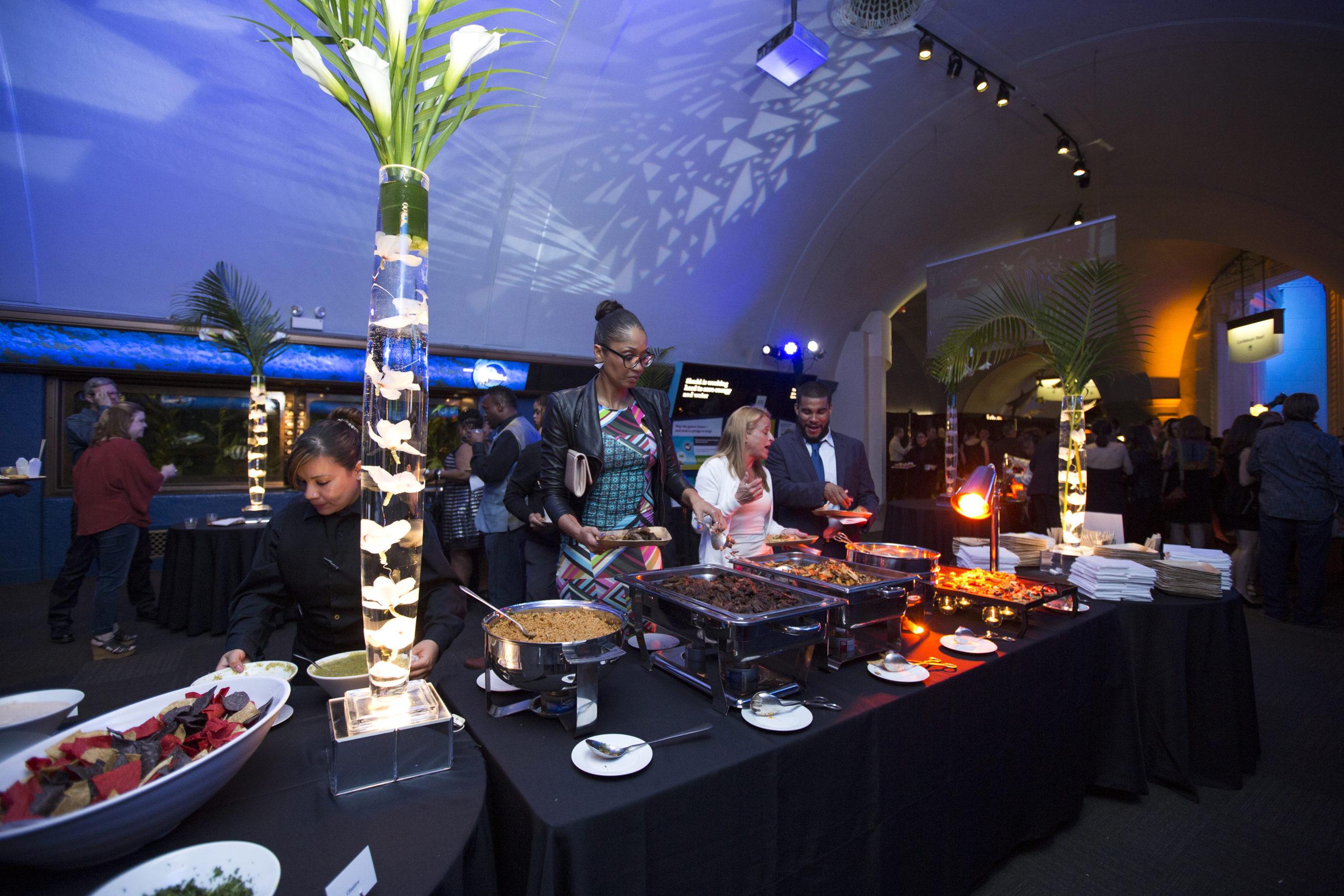 Food station set up at Shedd Aquarium event