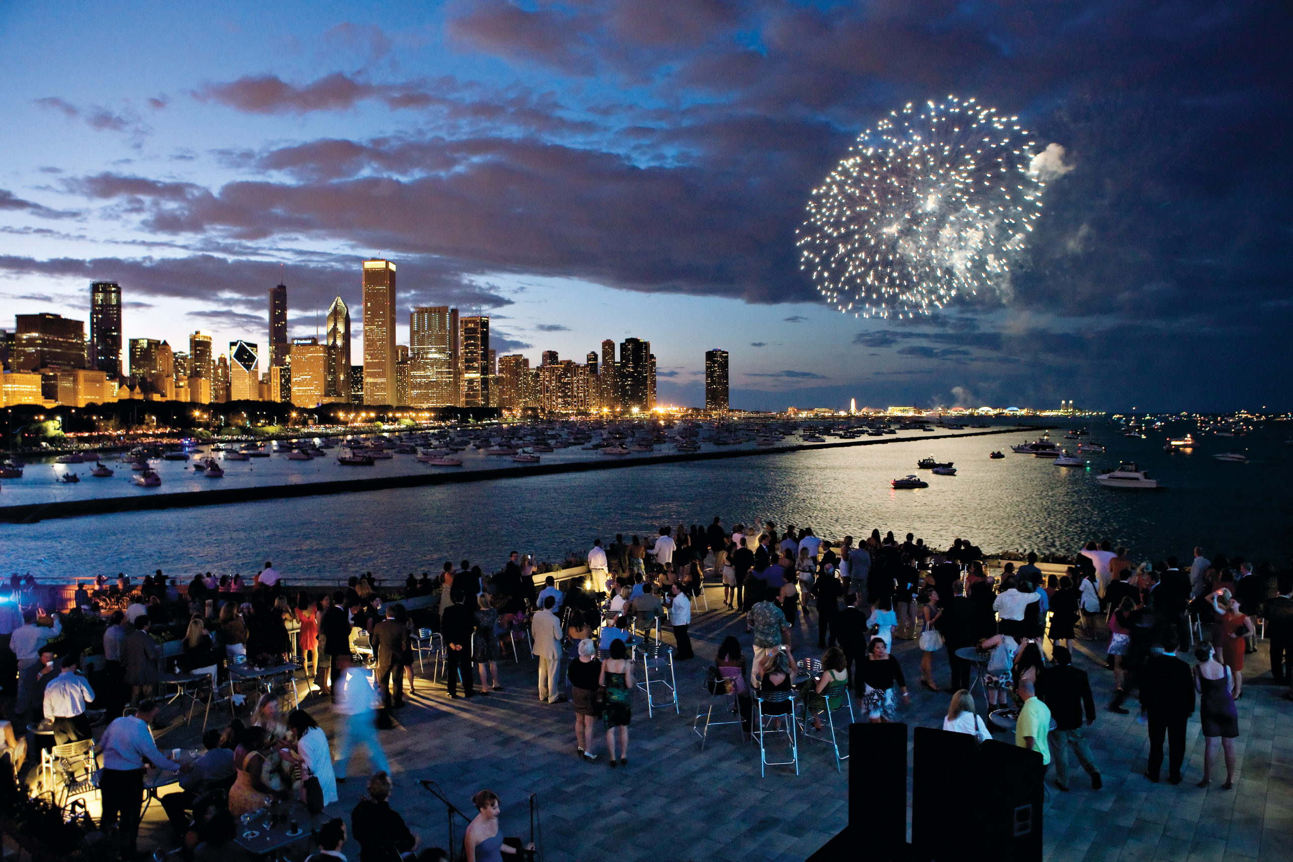 Outdoor event at Shedd Aquarium overlooking Chicago