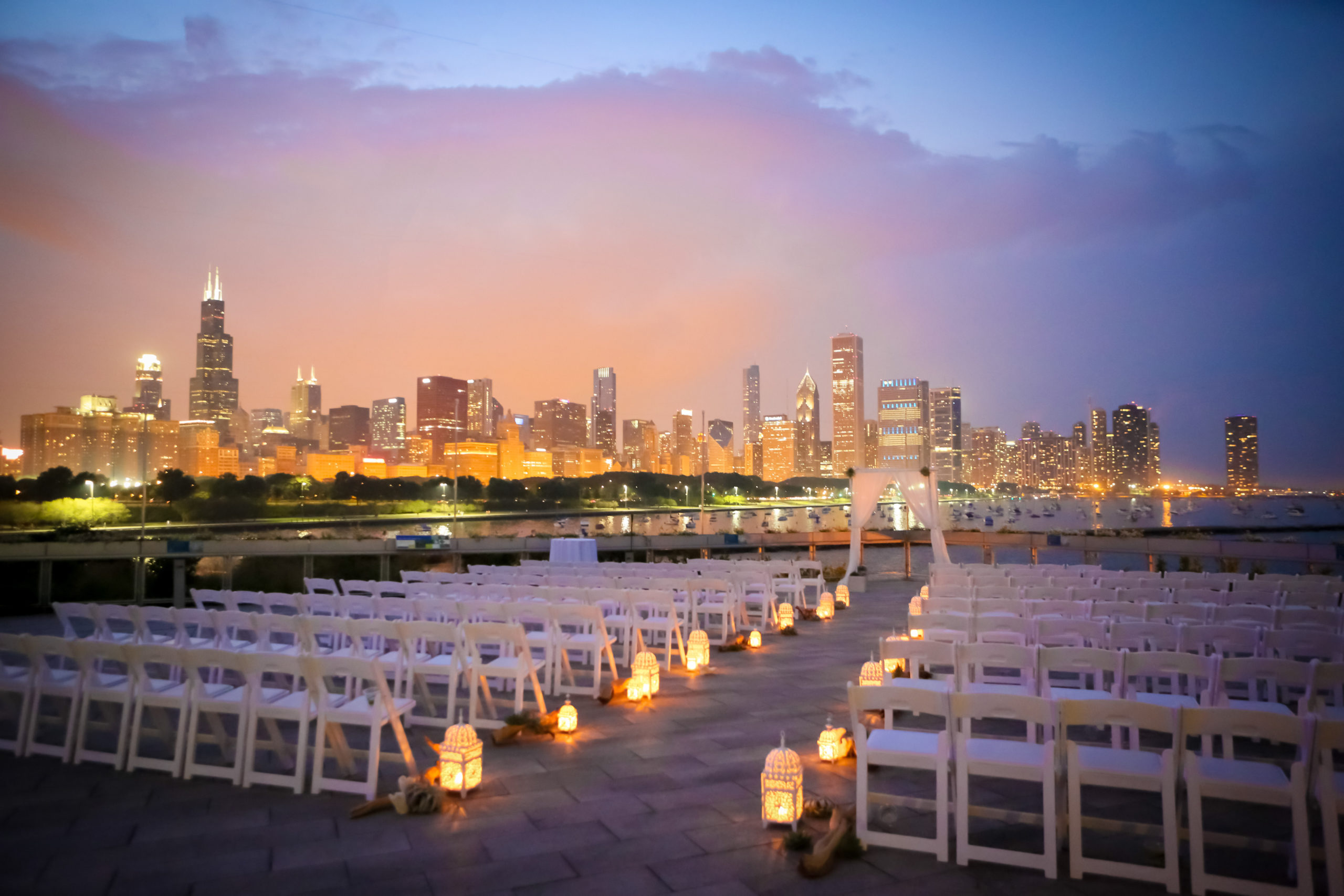 Outdoor Wedding looking over Chicago skyline